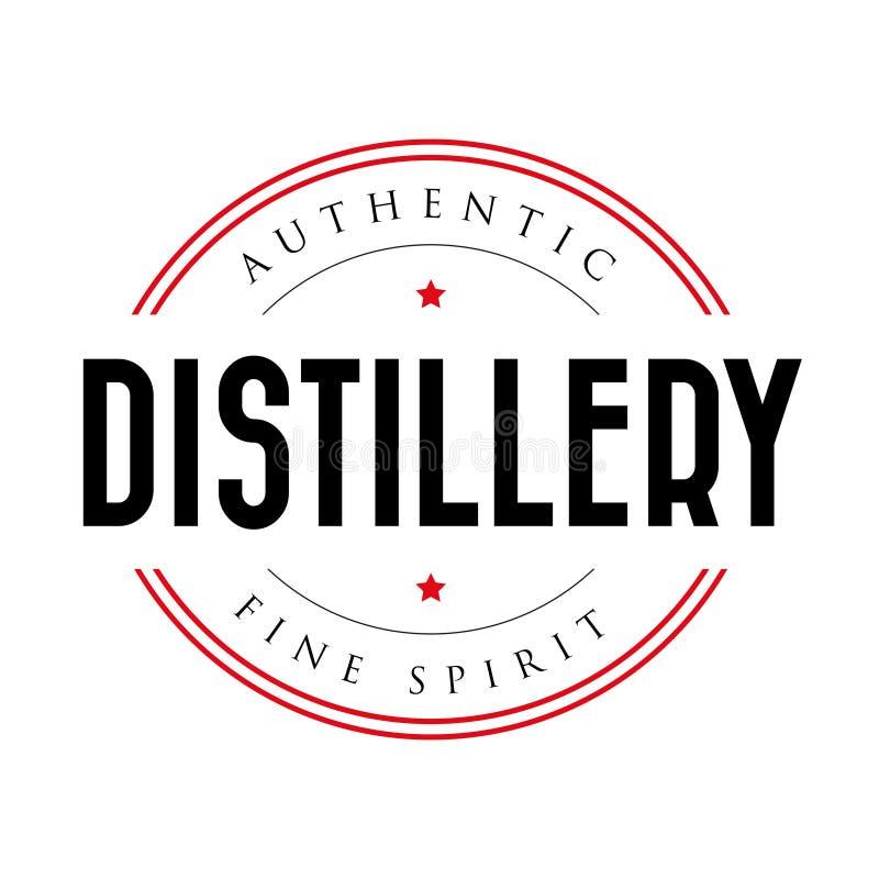 Logo authentique de timbre de vintage de distillerie illustration stock