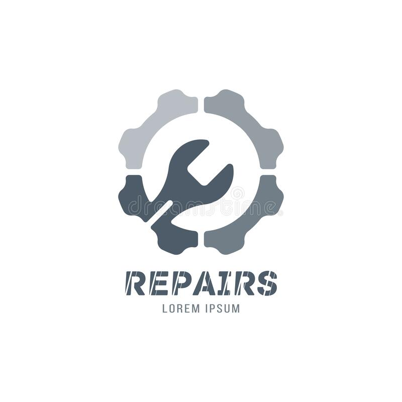 Logo for auto repair shop with wrench and wheel. Setup and maintenance. Flat vector illustration EPS 10. Key, nut, tool, building, gear, circle, mechanic stock illustration