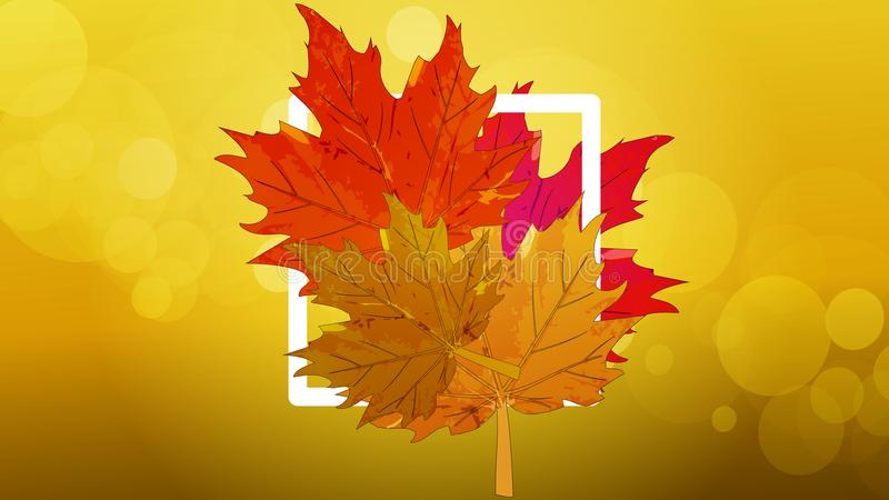 Logo with autumn leaves vector illustration