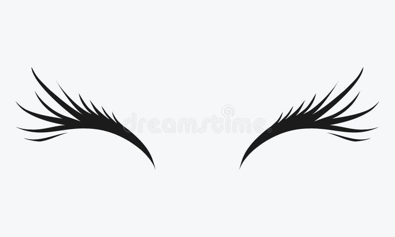 Logo av ögonfrans Stiliserat hår Abstrakt begrepplinjer av triangulär form Svartvit vektorillustration royaltyfri illustrationer