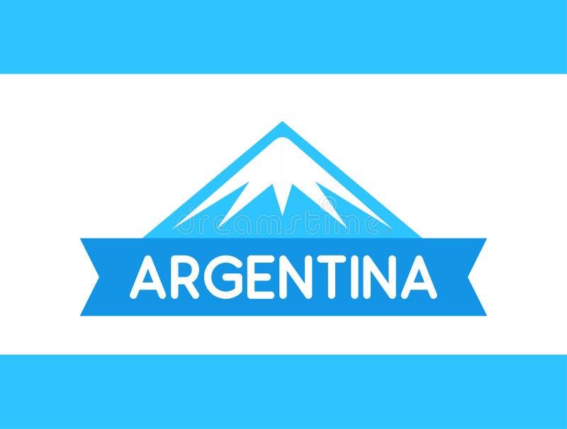 Logo av berget med bandet och överskrift Argentinean Anderna från Sydamerika, vektorillustration stock illustrationer
