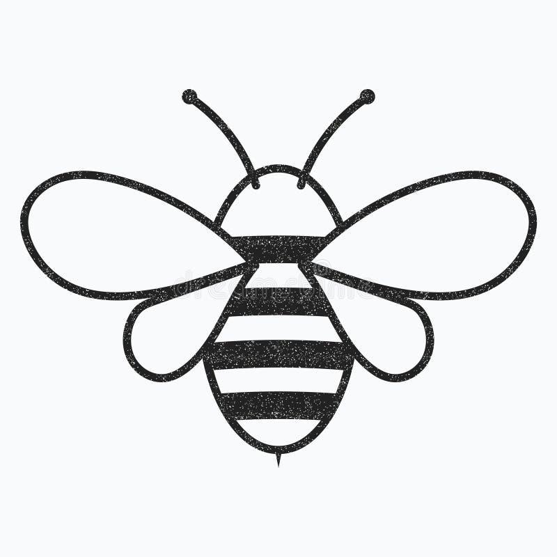 Logo av biet Svartvit bisymbol Vektorillustration med sårskorpor kryp royaltyfri illustrationer