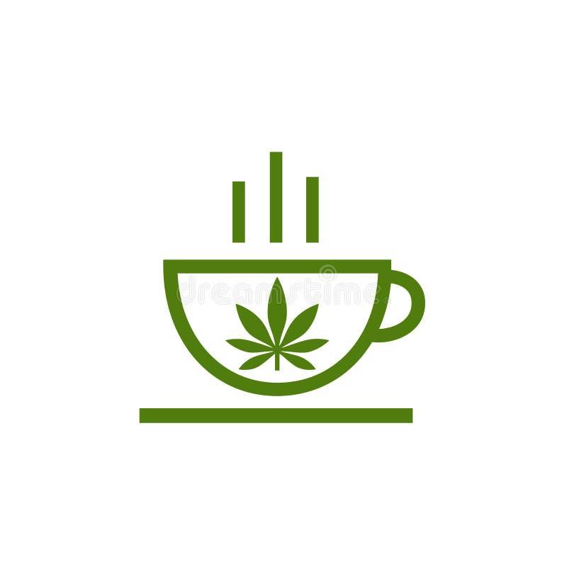 Logo av coffee shop Blad av cannabis på koppen Cannabisörtte- och marijuanasidor royaltyfri illustrationer