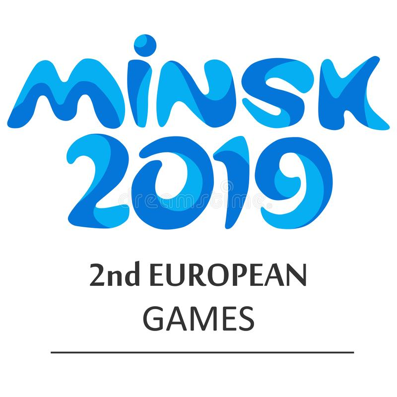 Logo av de europeiska lekarna i Minsk 2019 stock illustrationer