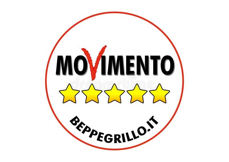 Logo av den Movimento 5 stellen, italienskt politiskt parti stock illustrationer