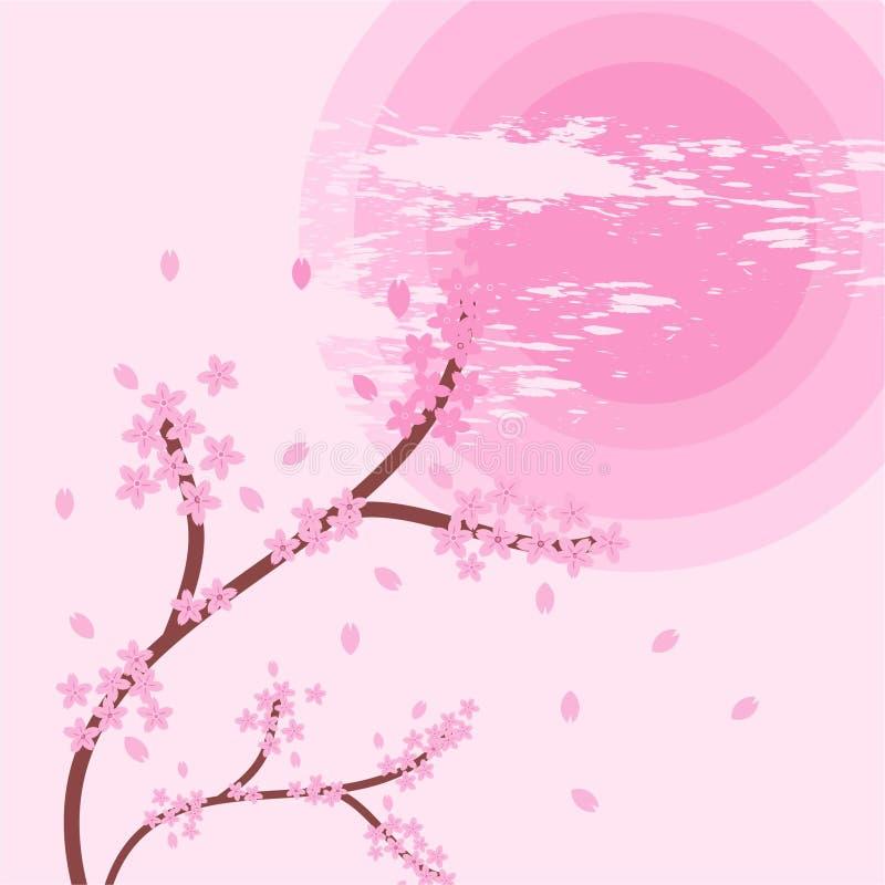 Logo av den sakura abstrakt begreppdesignen och geometriskt arkivfoton
