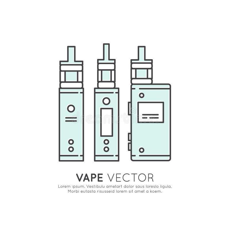 Logo av den Vape apparaten och att röka, elektronisk cigarett vektor illustrationer