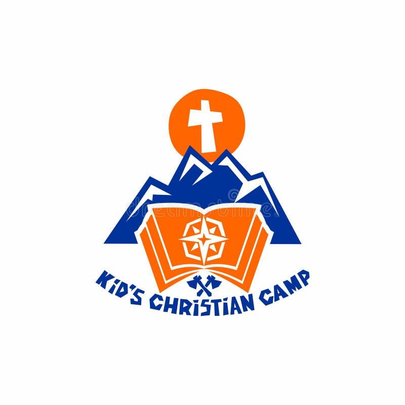 Logo av det kristna lägret för unge` s Berg och kors, bibel och kompass stock illustrationer