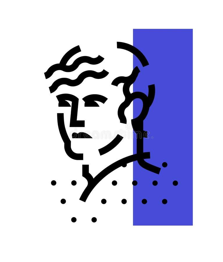 Logo av det manliga huvudet Linjär symbol av mannen Plan illustration för vektor Tecken för män \ 's-institutioner abstrakt bild  stock illustrationer