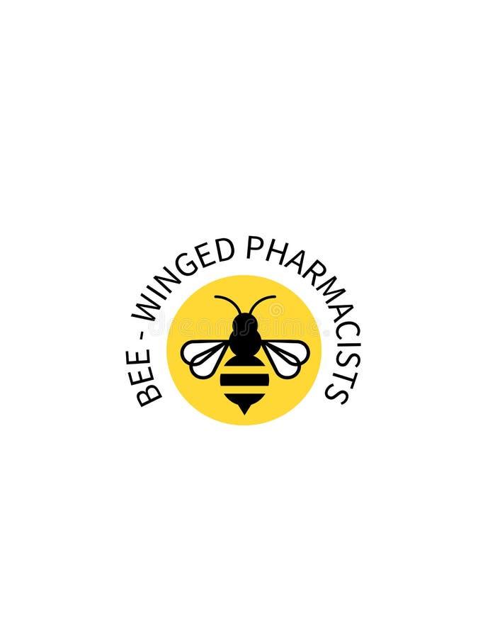 Logo av ett bi på en gul bakgrund vektor illustrationer
