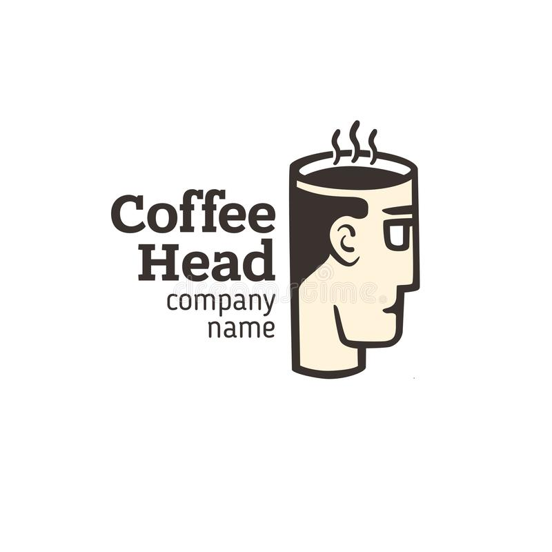 Logo av ett huvud med en kopp kaffe royaltyfri illustrationer