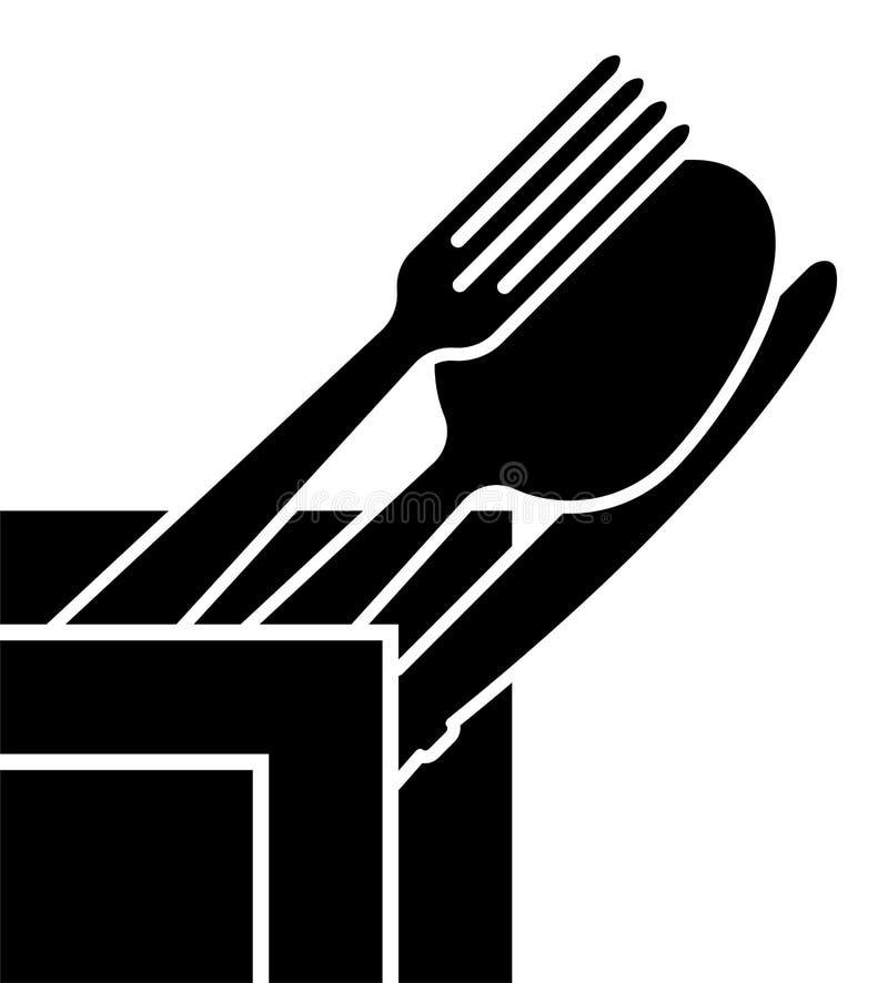 Logo av företaget eller ett tecken på ämnet av bestick Tidsbeställning för en restaurang- eller kafémeny stock illustrationer