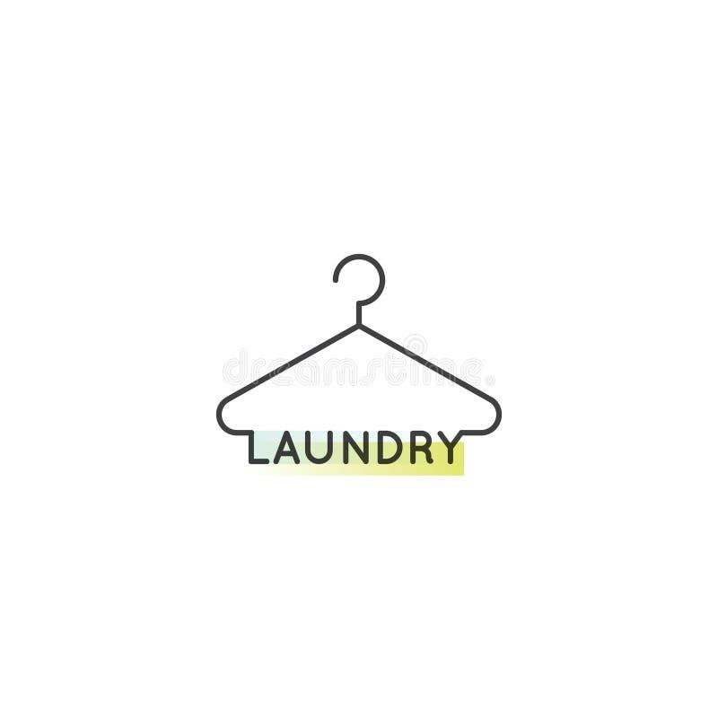 Logo av kemtvätt och det tjänste- företaget för tvätteri royaltyfri illustrationer