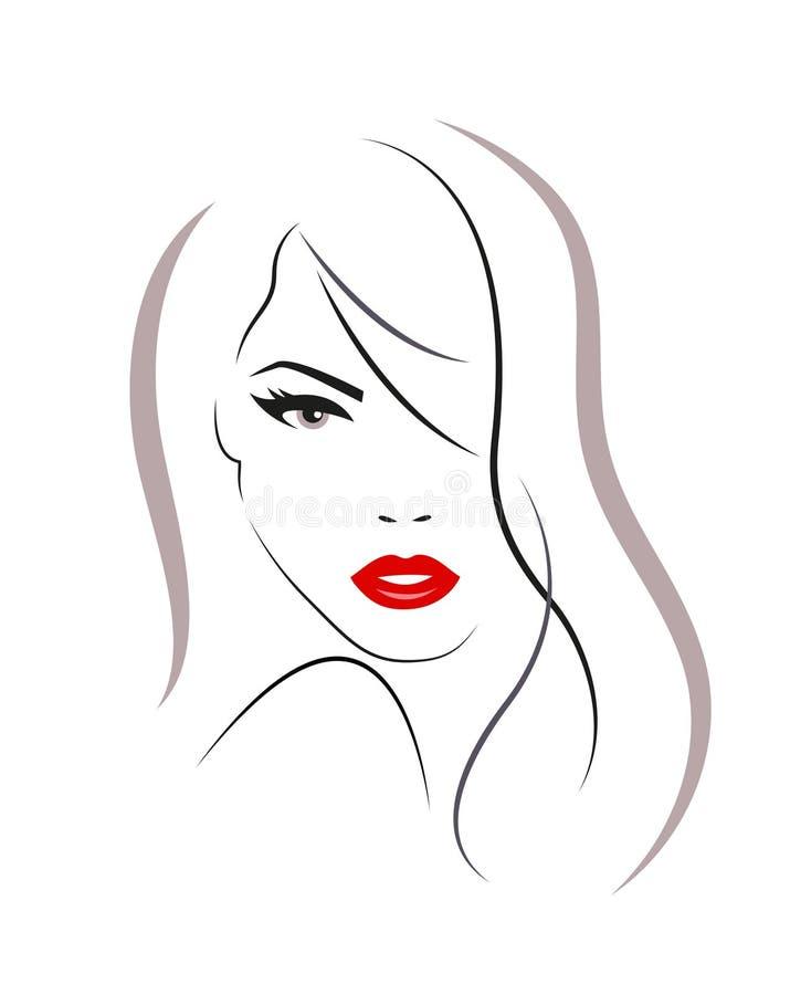 Logo av kvinnan med långt hår royaltyfri illustrationer