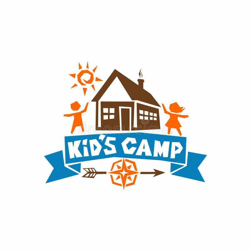 Logo av lägret för unge` s Hus, sol, barn och en kompass stock illustrationer