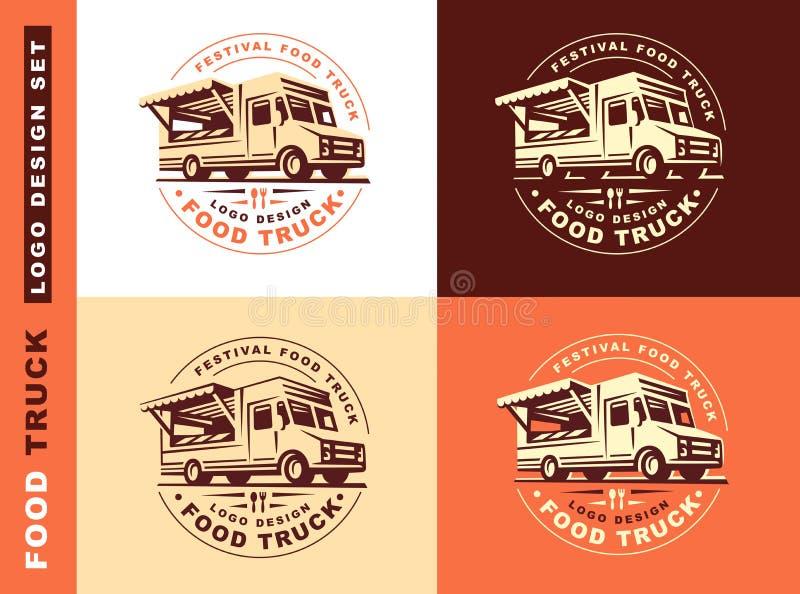 Logo av matlastbilen vektor illustrationer