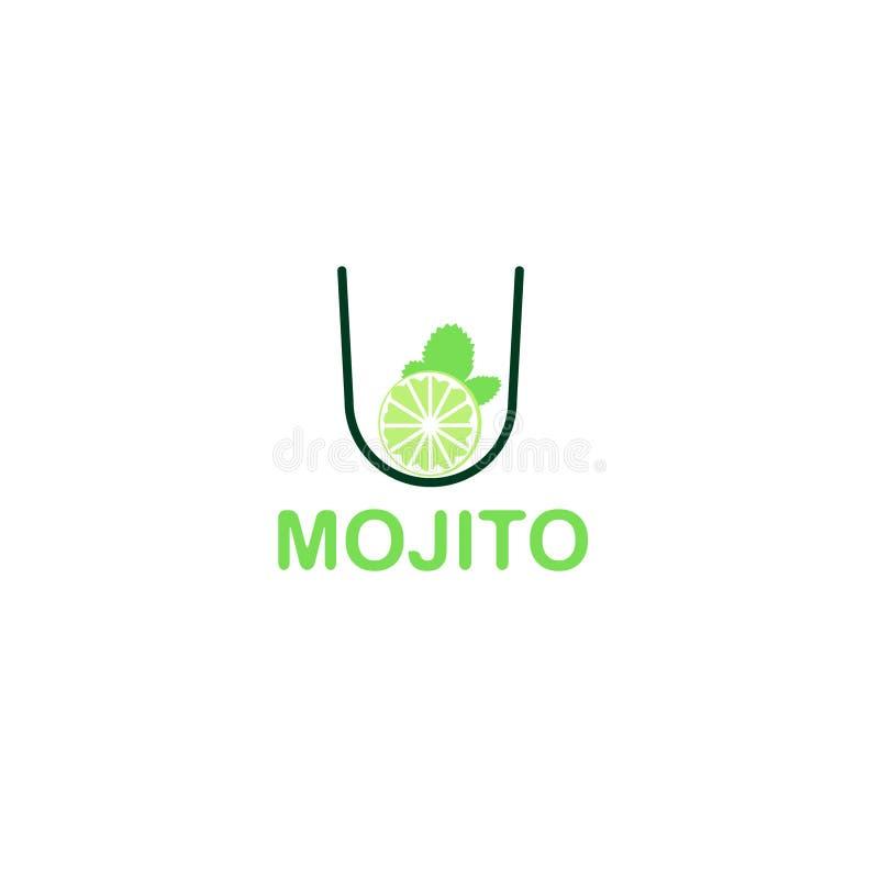 Logo av mojitoexponeringsglas med limefrukt royaltyfri illustrationer