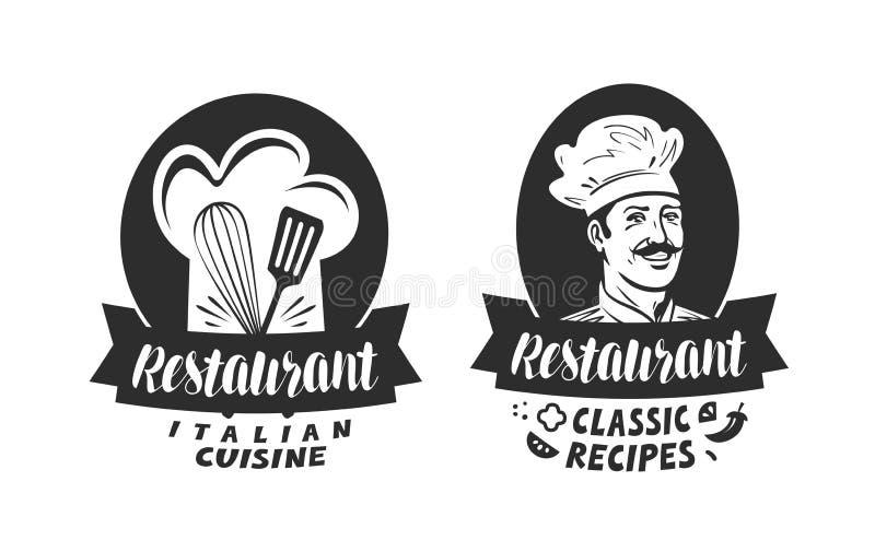 Logo av restaurangen Eatery matställe, bistroetikett Bokstävervektorillustration stock illustrationer