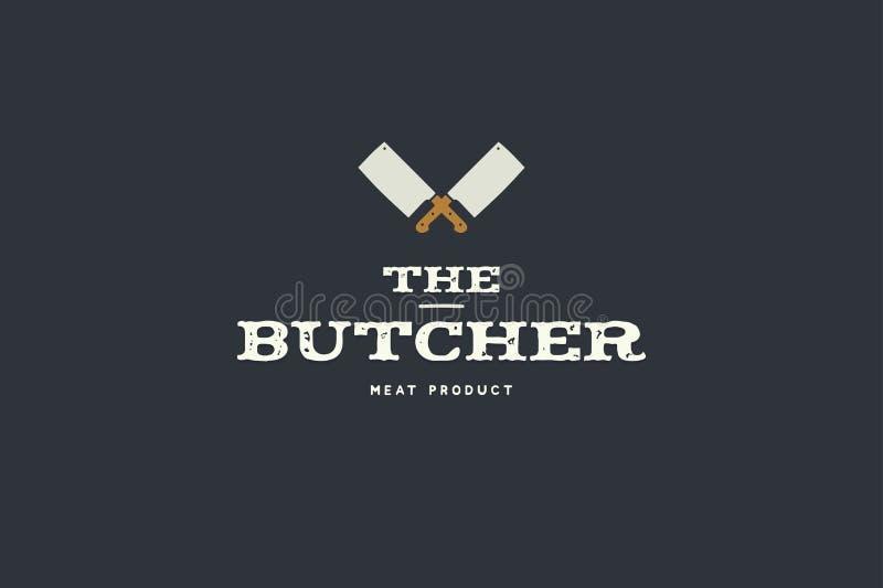 Logo av slaktaren med bilden av handyxan för två kök Planlägg beståndsdelar för köttdiversehandel som förpackar och annonserar vektor illustrationer