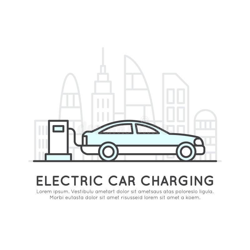 Logo av strömförsörjningproppuppladdaren, elbil som laddar, förnybara energikällorsymbol vektor illustrationer