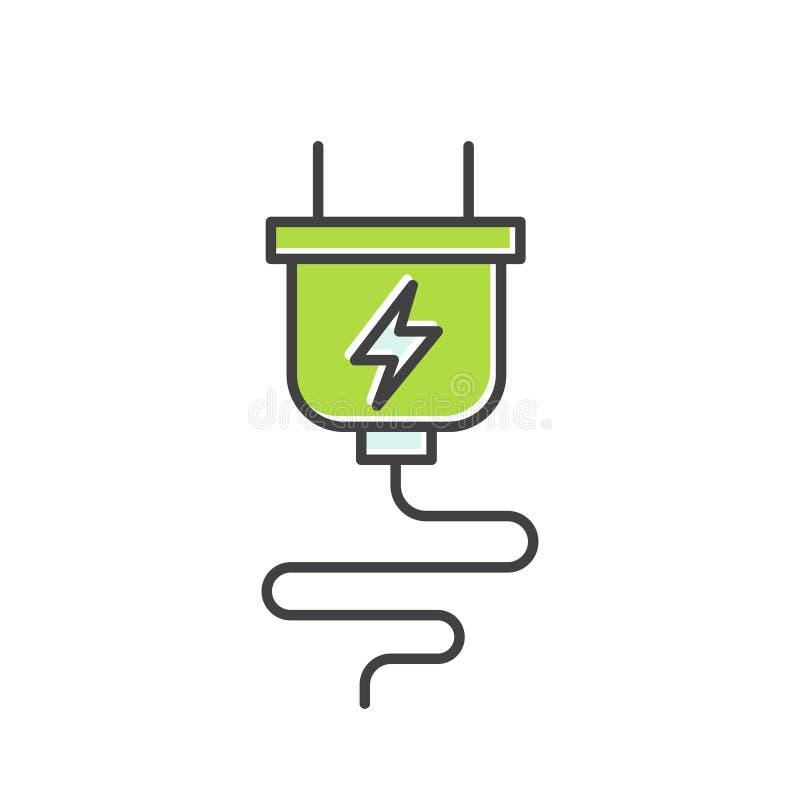 Logo av strömförsörjningproppuppladdaren, elkraften och förnybara energikällorsymbolet stock illustrationer