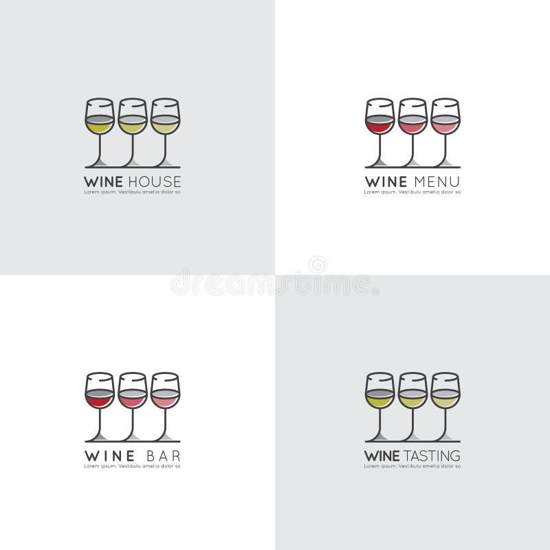Logo av vinodlingen eller vinstång eller restaurang, drink för bild för menylista röd, rosa och vit, i vinglas stock illustrationer