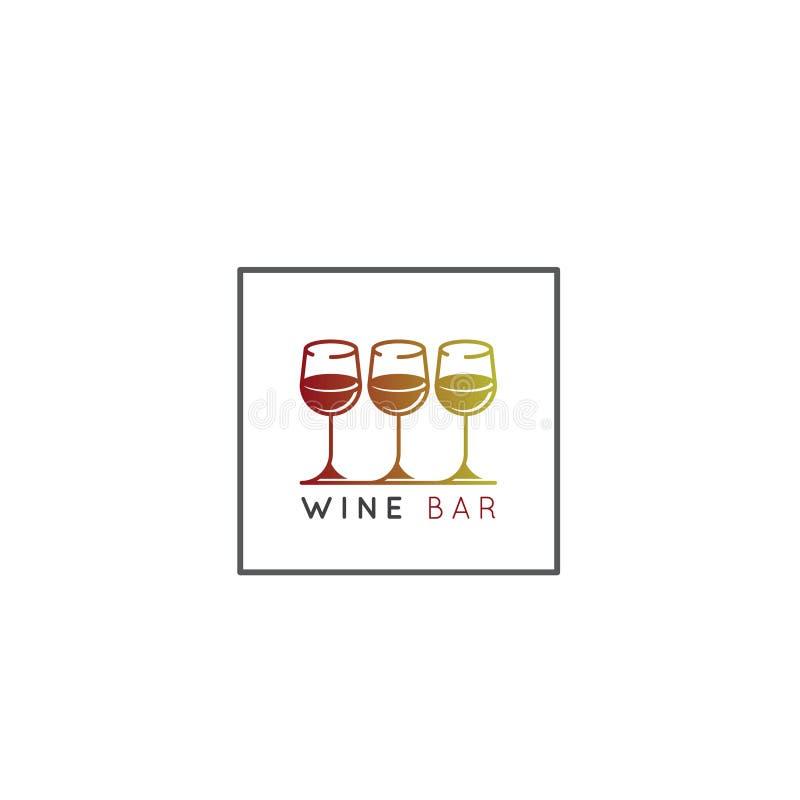 Logo av vinodlingen eller vinstång eller restaurang med tre vinglas med lutningfärg stock illustrationer