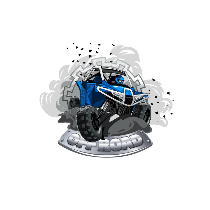 Logo avec des erreurs tous terrains d'ATV, la poussière de fourmi de saleté de fumée illustration stock