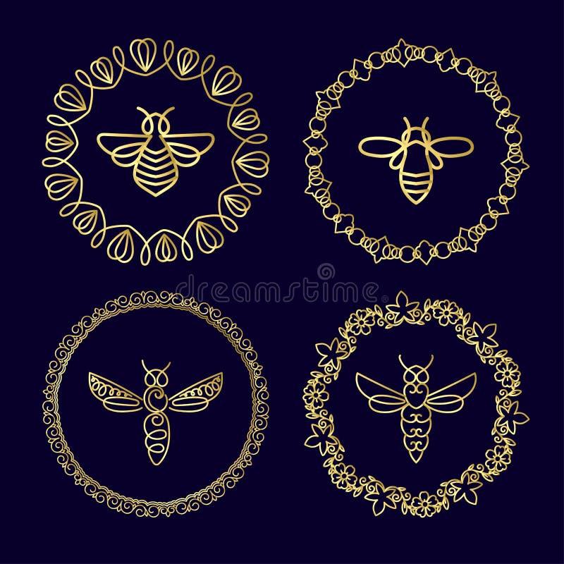 Download Logo Avec L'insecte Abeille D'insigne Pour L'identité D'entreprise Photo stock - Image du affaires, nutrition: 87702080