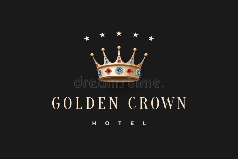 Logo avec la couronne de roi d'or, le diamant et l'hôtel d'or de couronne d'inscription illustration de vecteur