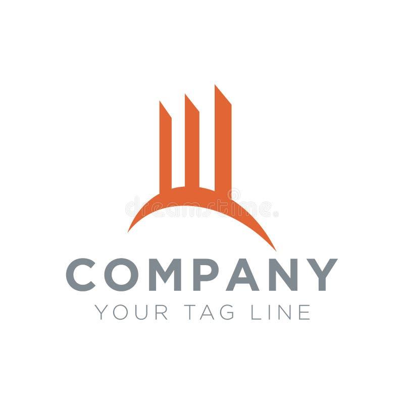 Logo avec la domination de 3 bâtiments illustration de vecteur
