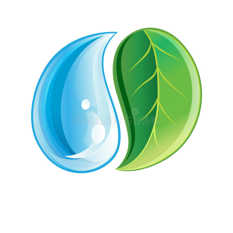 Logo avec la feuille verte et la baisse illustration libre de droits
