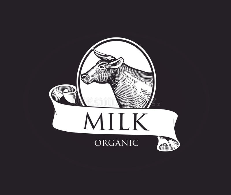 Logo avec la silhouette de vache dans une camée avec des rubans Illustration de vecteur de vache Illustration de vache dans le st illustration stock