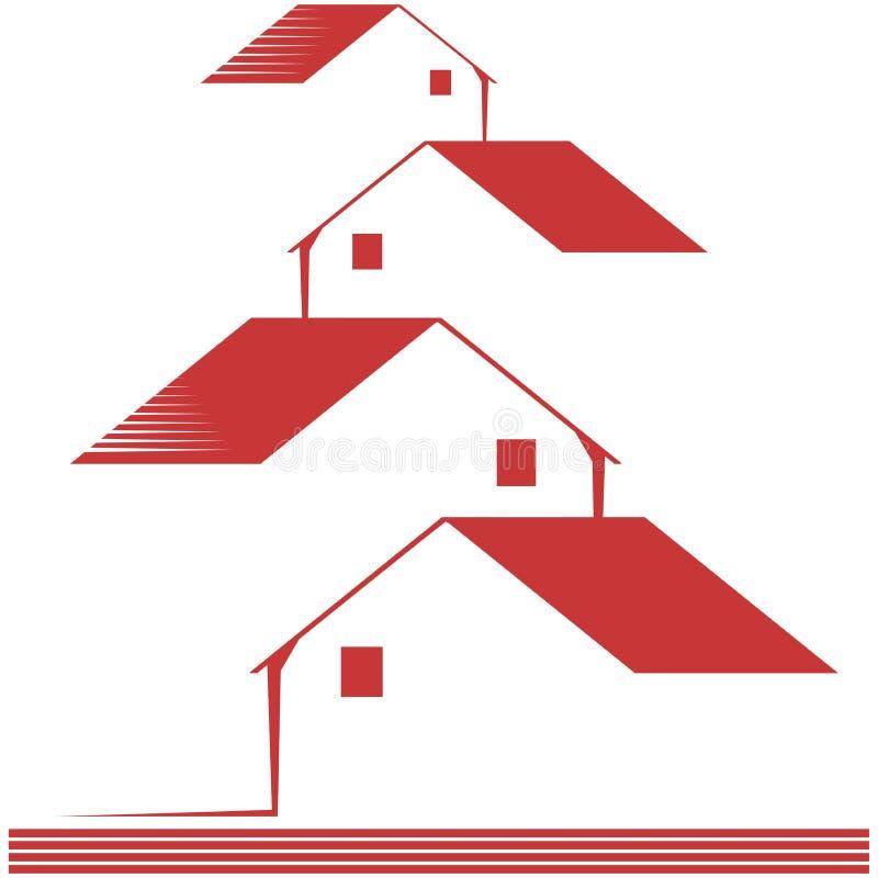 Logo avec les maisons stylisées d'isolement illustration libre de droits