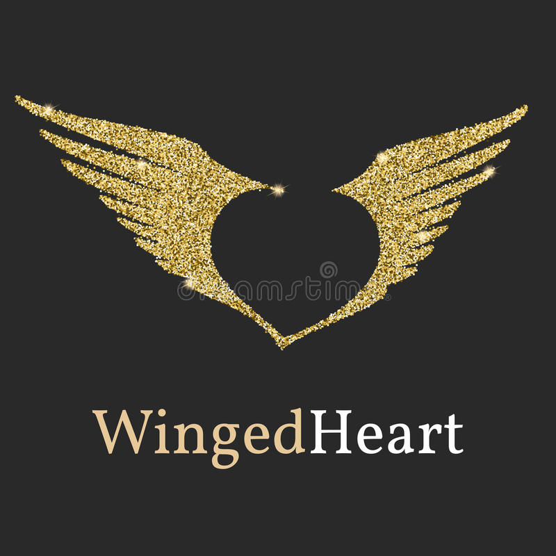 Logo avec un scintillement d'or, éclat Symbole avec des ailes et un coeur dans le négatif illustration stock