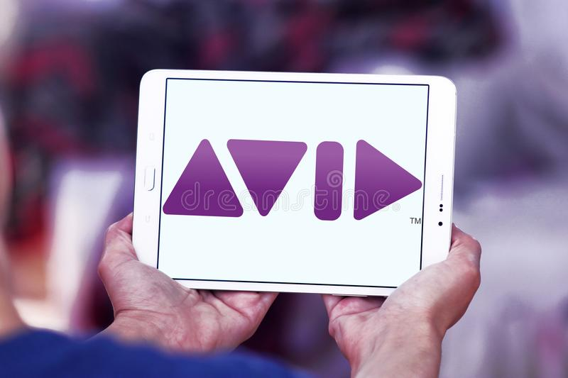Avid Technology company logo. Logo of Avid Technology company on samsung tablet . Avid Technology is an American technology and multimedia company royalty free stock images