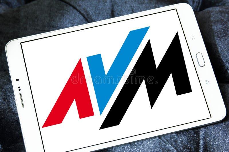 AVM electronics company logo. Logo of AVM electronics company on samsung tablet. AVM is a consumer electronics company. The company produces communications royalty free stock image