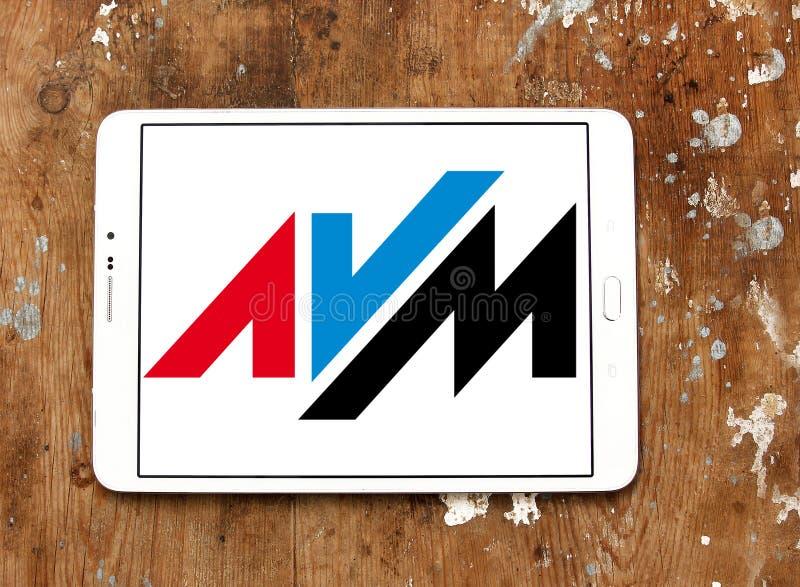 AVM electronics company logo. Logo of AVM electronics company on samsung tablet. AVM is a consumer electronics company. The company produces communications stock photo