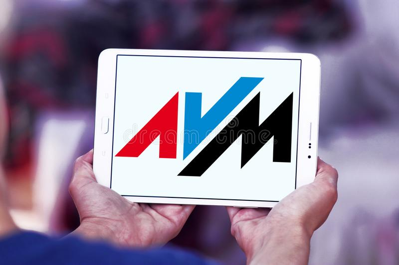 AVM electronics company logo. Logo of AVM electronics company on samsung tablet. AVM is a consumer electronics company. The company produces communications stock photography