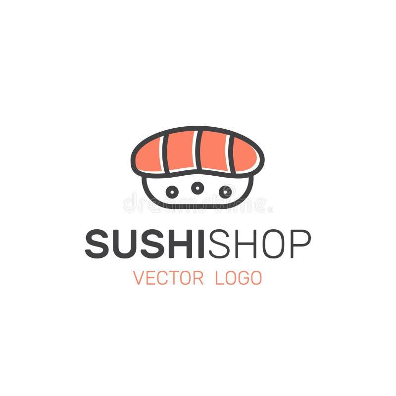 Logo Azjatycki Uliczny fasta food bar lub sklep, suszi, Mak, Onigiri Łososiowa rolka z Chopsticks royalty ilustracja
