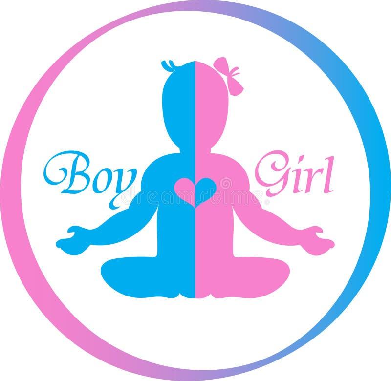 Logo Baby Boy y muchacha stock de ilustración
