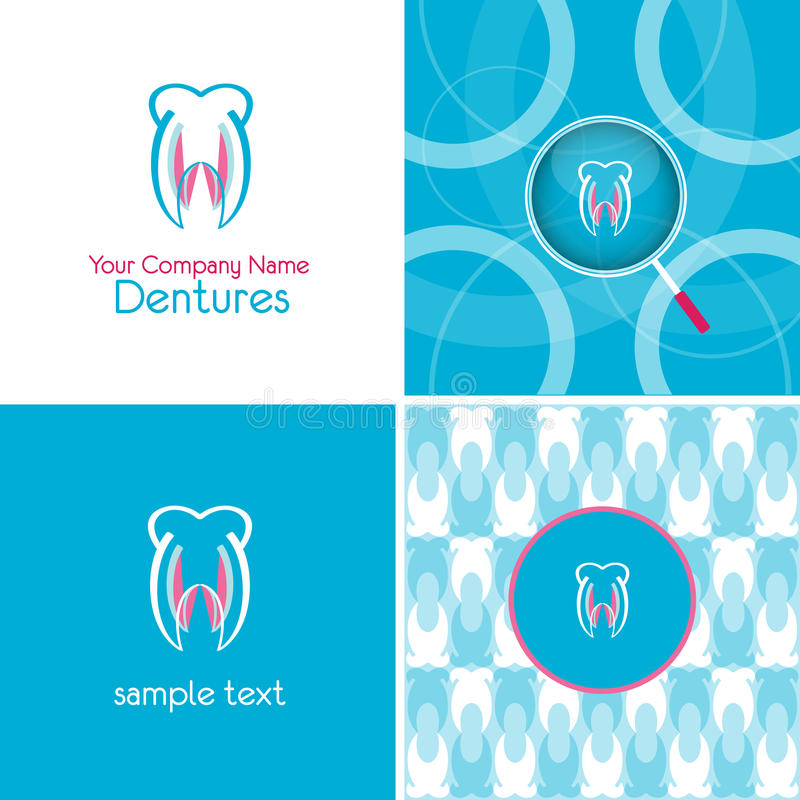 Logo and background. For dentures company royalty free illustration