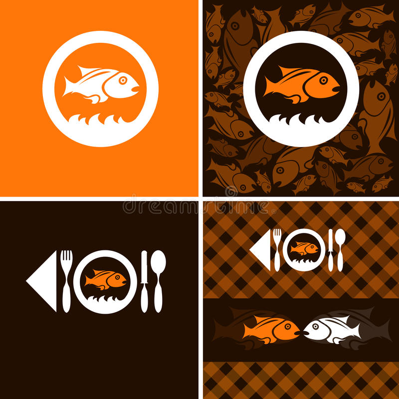 Logo and background. For fish company royalty free illustration