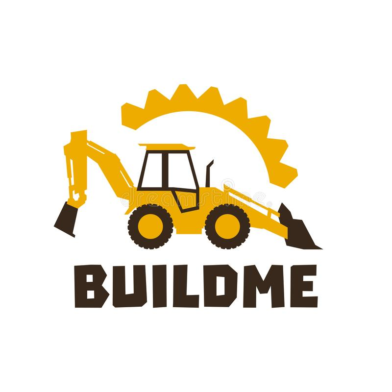 Logo backhoe loader. Orange construction equipment. Against the background of gears. Isolated object. Vector. Illustration. Flat style royalty free illustration