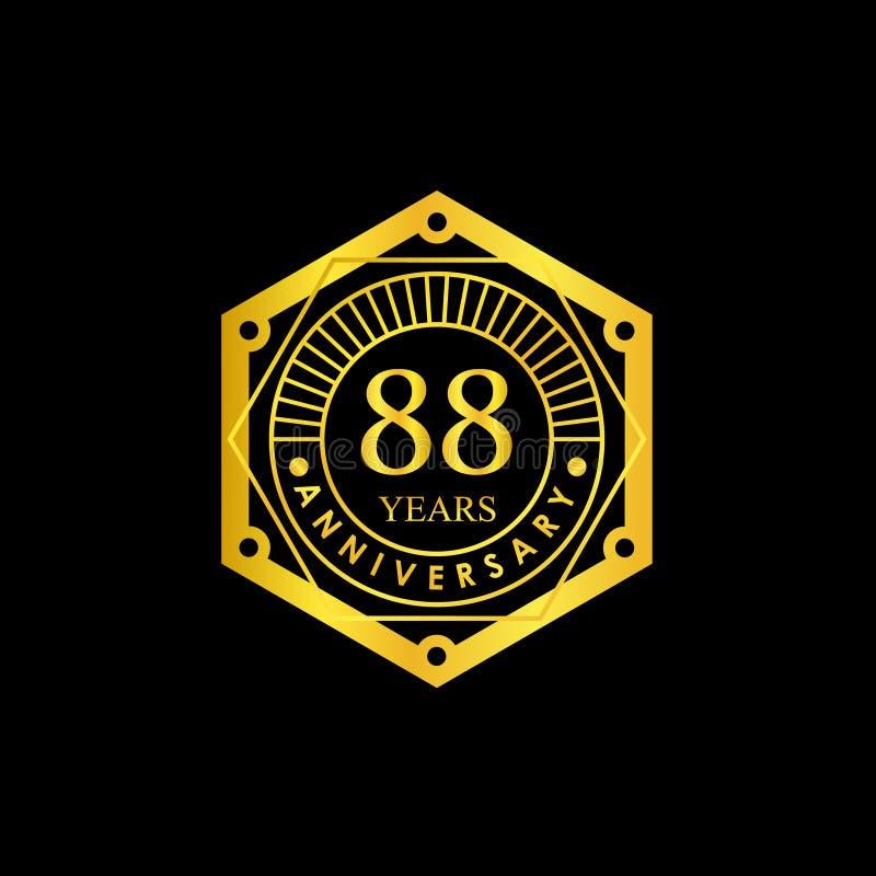 Logo Badge Anniversary Black e ouro 88 anos ilustração stock