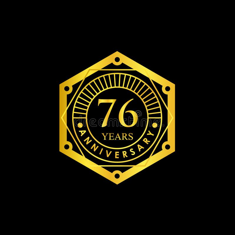 Logo Badge Anniversary Black och guld 76 år royaltyfria foton