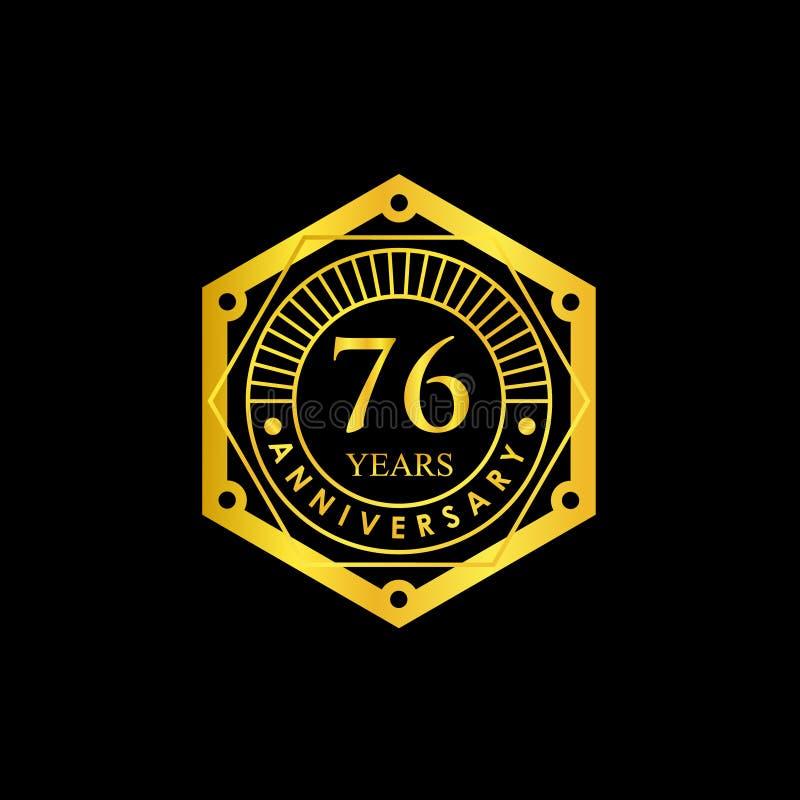 Logo Badge Anniversary Black und Gold 76 Jahre lizenzfreie stockfotos