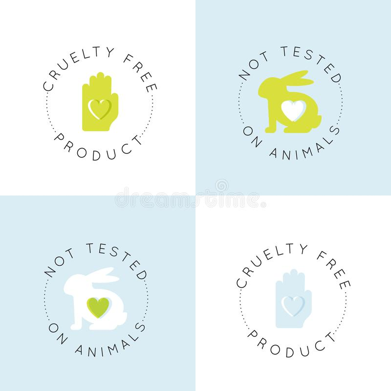 Logo Badge com o coelho e o coração, não testados em animais, grupo de etiqueta do produto do laboratório da crueldade livre ilustração stock