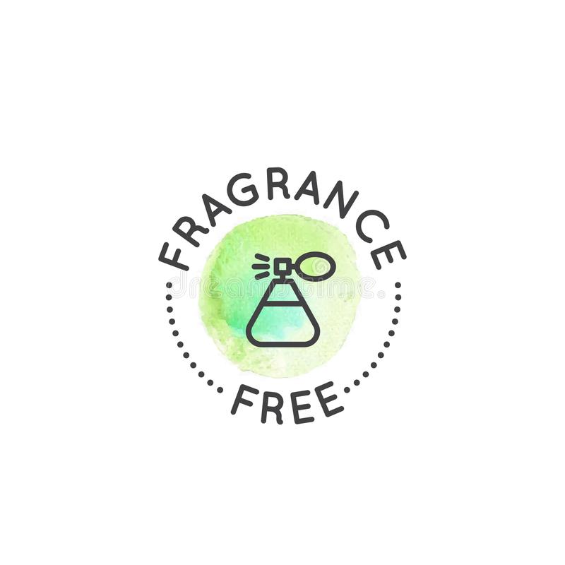 Logo Badge con coniglio e cuore, non provati liberamente sugli animali, etichetta del prodotto del laboratorio di crudeltà fotografia stock libera da diritti