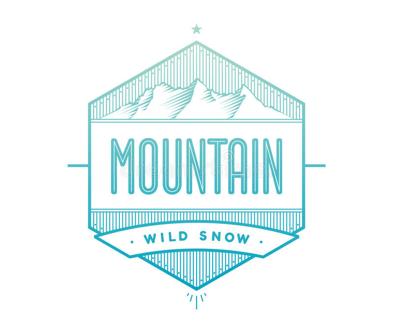 Logo badge for creative design project. Label related to mountain theme - blue mountain on a white background. Vector illustration stock illustration